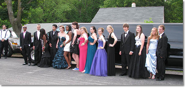 Going to the prom in a stretch limo